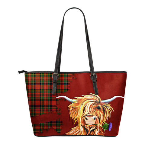 Thistle Royal Highland Cow Small Leather Tote Bag Hj4