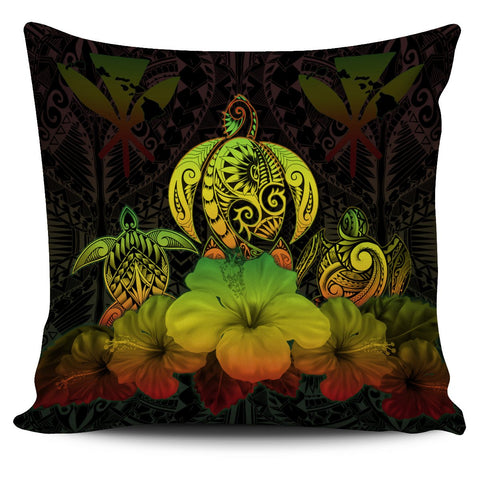 Kanaka Maoli (Hawaiian) Pillow Cover Reggae Turtle Polynesian with Hibiscus TH5