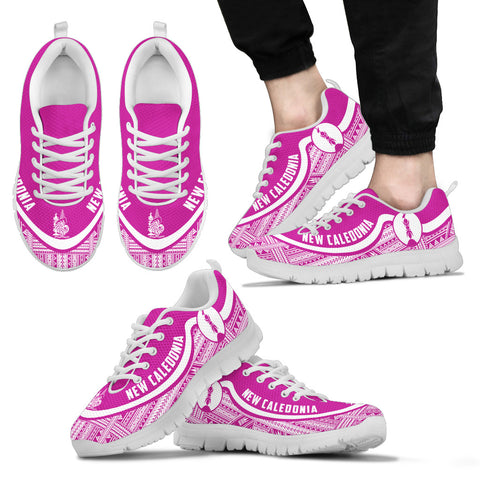 New Caledonia Wave Sneakers - Polynesian Pattern White Pink Color Th0