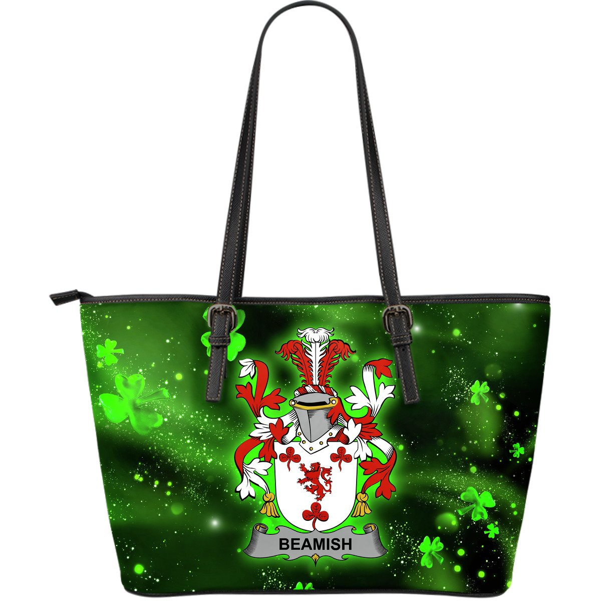 Beamish Ireland Leather Tote Irish Shamrock (Large Size) | Over 1400 Crests | Highest Quality