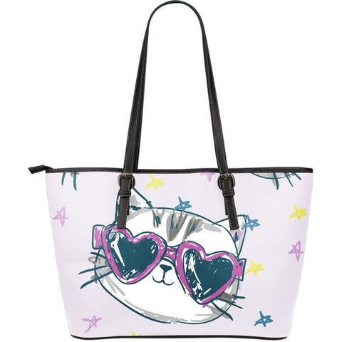 Happy Cat II Leather Tote Handbag
