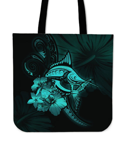 The Bahamas Tote Bag - Turquoise Marlin and Hibiscus A18