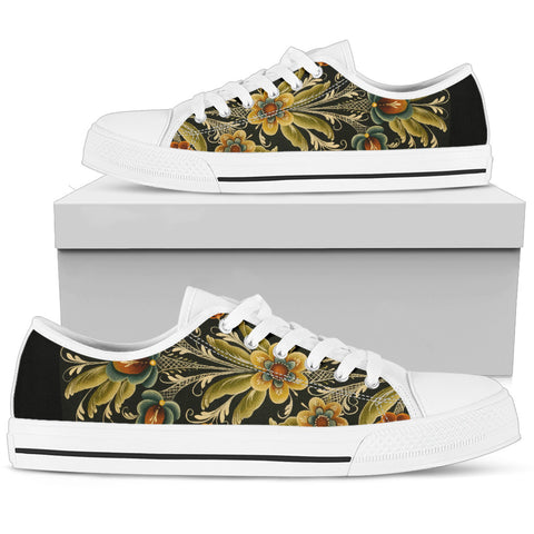 Norwegian Rosemaling (Mens/Womens) Low Top Canvas Shoes | HOT Sale