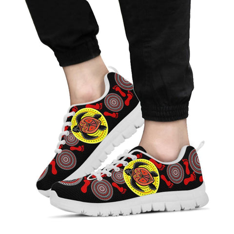 Australia Aboriginal Sneakers, Turtle Footprint Circle Dot Painting Ver 07