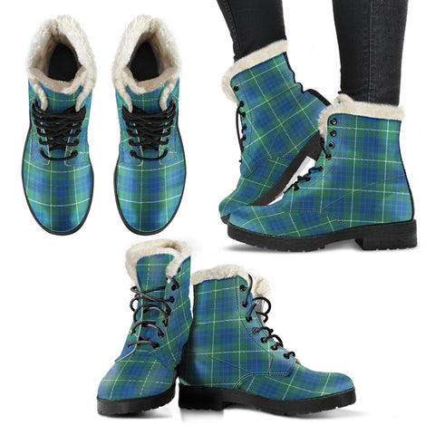 Hamilton Hunting Ancient Tartan Faux Fur Leather Boots