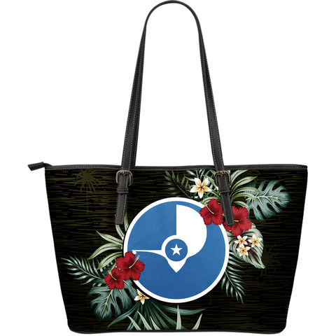 Yap Hibiscus Large Leather Tote Bag A7