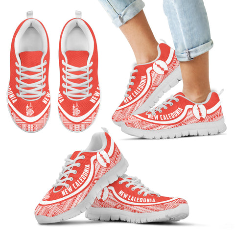 New Caledonia Wave Sneakers - Polynesian Pattern White Red Color Th0