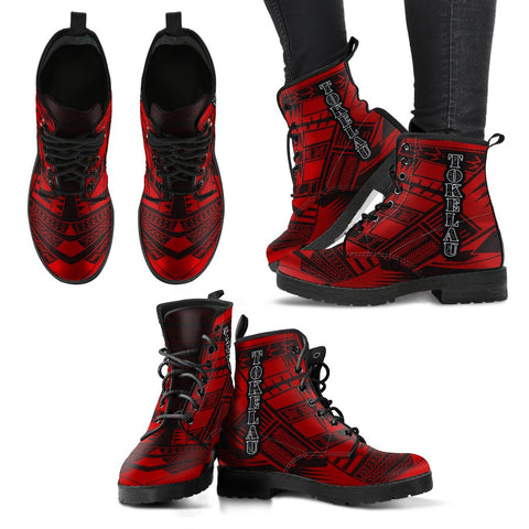 Women's Tokelau Leather Boots - Polynesian Tattoo Red
