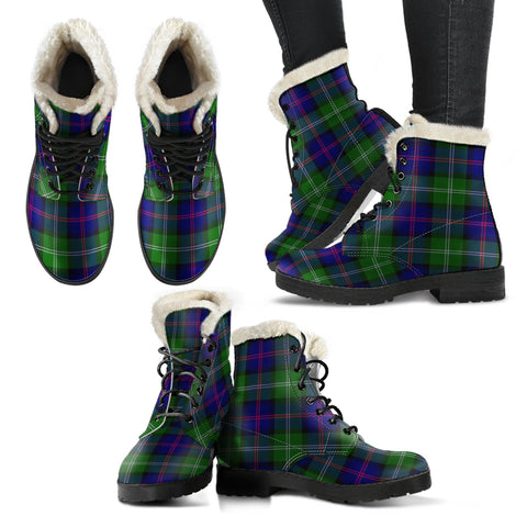 Macthomas Modern Tartan Faux Fur Leather Boots