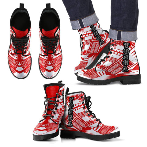 Men's Tonga Leather Boots - Polynesian Tattoo Flag