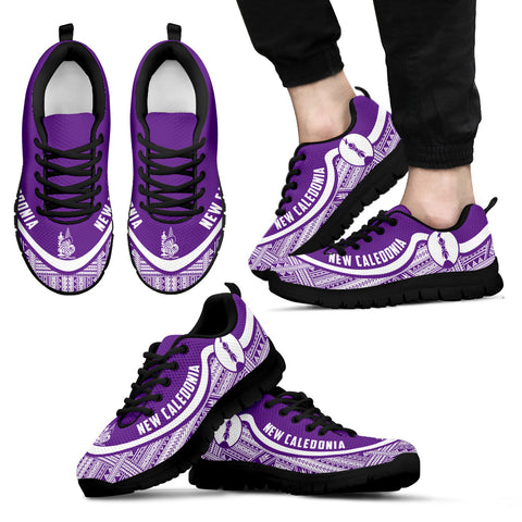 New Caledonia Wave Sneakers - Polynesian Pattern White Purple Color Th0