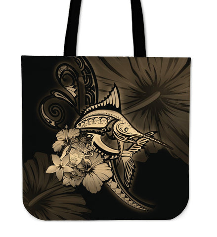 The Bahamas Tote Bag - Gold Marlin and Hibiscus A18