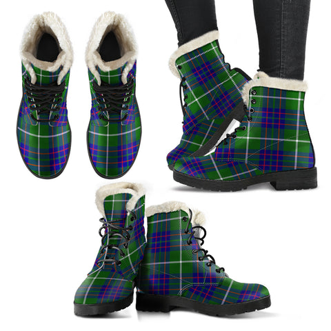 Image of Macintyre Hunting Modern Tartan Faux Fur Leather Boots