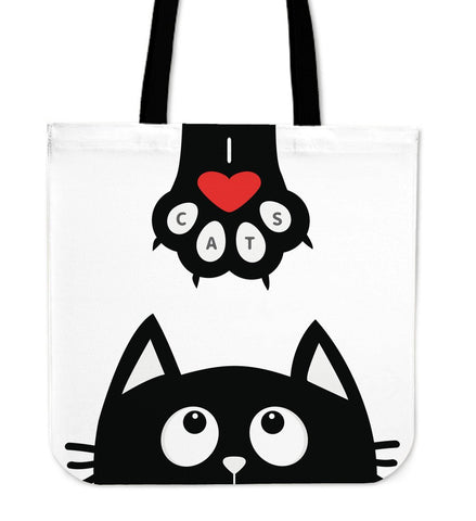 White Cat Tote Handbag