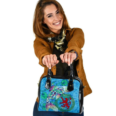 Scotland Celtic Shoulder Handbag - Celtic Fish With Lion