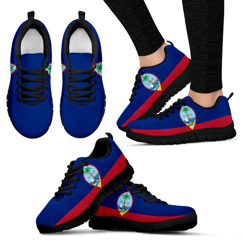 Image of Guam Custom Black Shoes/Sneakers/Trainers - Ladies/Men's/Kids Sizes, Guam Flag, Guam Seal, Guam Designs, Guam Souvenir, Custom Shoes, Gift