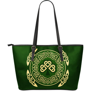 Ireland Large Leather Tote Bag Shamrock and Celtic Corner TH6