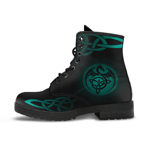 Celtic Leather Boots  - Celtic Dragon - Turquoise | 1sttheworld