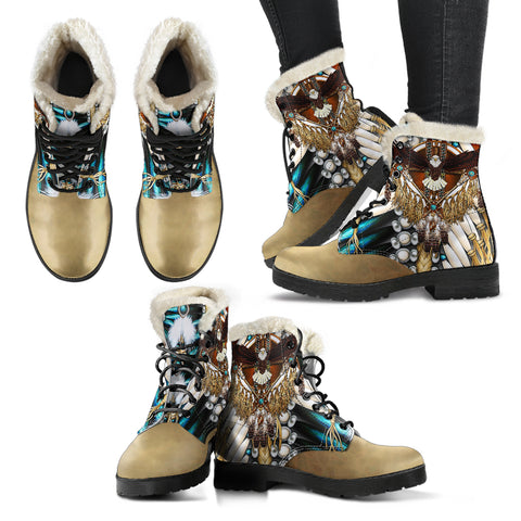 Native American Faux Fur Leather Boots - Mandala 2nd - Light Brown - Right and Left - for Women
