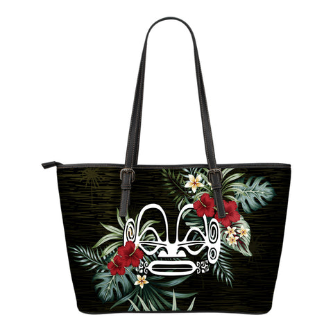 Marquesas Islands 2 Hibiscus Small Leather Tote Bag A7