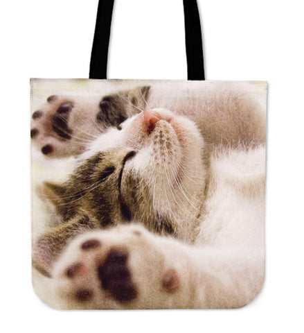 Tote Handbag Sleeping Cat