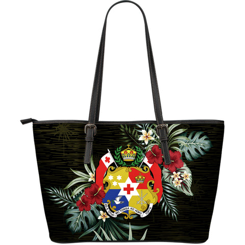Tonga Hibiscus Large Leather Tote Bag A7