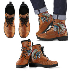 Men/Women's Leather Boots - Native American With Headdress