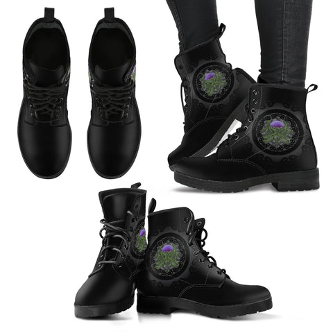 Thistle Scottish Luxury Black Leather Boots - Bn01 |Footwear| Love The World