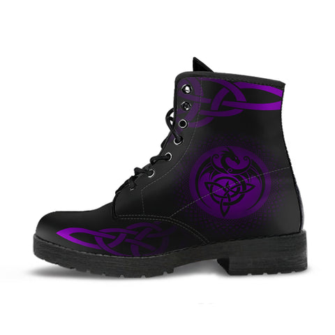 Celtic Leather Boots  - Celtic Dragon - Purple | 1sttheworld