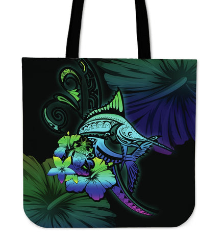 The Bahamas Tote Bag - Colorful Marlin and Hibiscus A18
