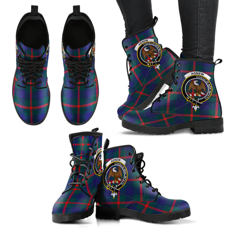 Agnew Tartan Clan Badge Leather Boots Hj4 |Footwear| Love The World