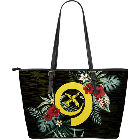 Vanuatu 2 Hibiscus Large Leather Tote Bag A7