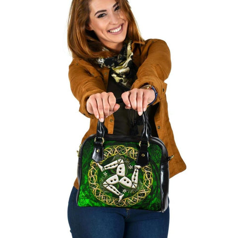 Celtic Shoulder Handbag - Isle of Man With Celtic Patterns Ver 02 - BN18