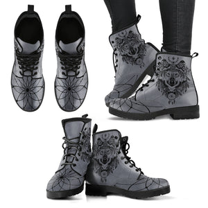 Native American Leather Boots - Native American Wolf H4