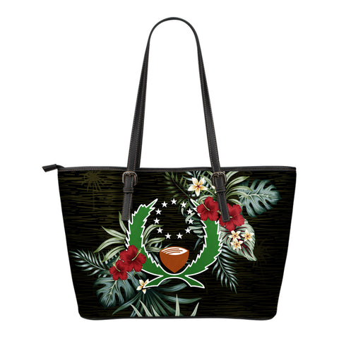 Pohnpei Hibiscus Small Leather Tote Bag A7