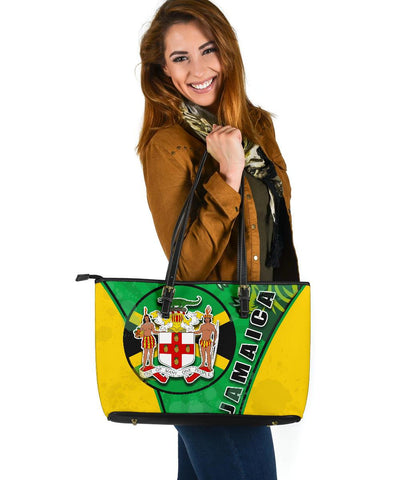 Jamaica Lion Large Leather Tote Circle Stripes Flag Version | 1sttheworld
