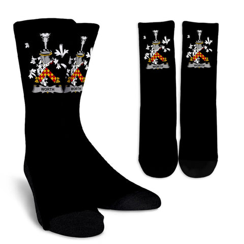 Worth or McWorth Ireland Crew Socks - Irish Family Crest  | Over 1400 Crests | High Quality | 1sttheworld