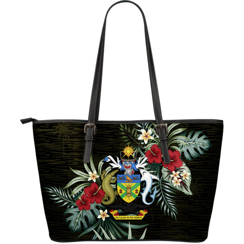 Solomon Islands Hibiscus Large Leather Tote Bag A7