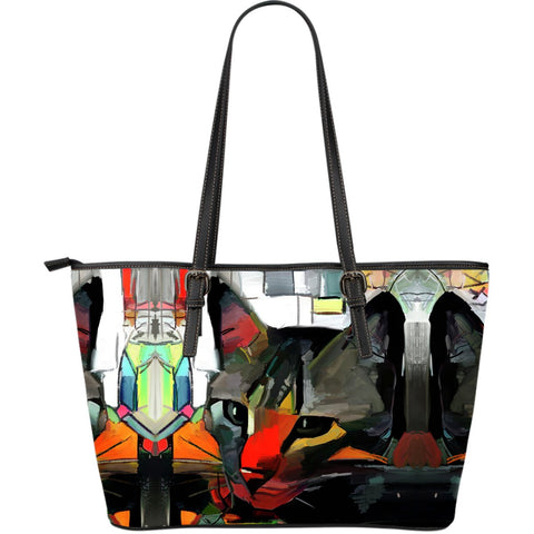 Art Cat Leather Tote Handbag