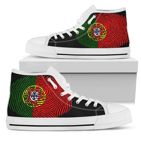 PORTUGAL FINGERPRINT FLAG HIGH TOP CANVAS SHOES H9