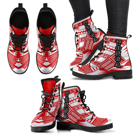Women's Tonga Leather Boots - Polynesian Tattoo Flag