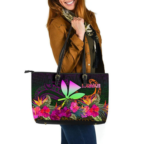 Image of Polynesian Hawaii  Kanaka Maoli Large Leather Tote - Summer Hibiscus