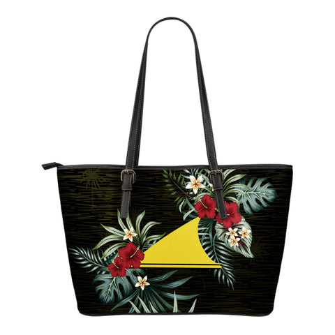 Tokelau Hibiscus Small Leather Tote Bag A7