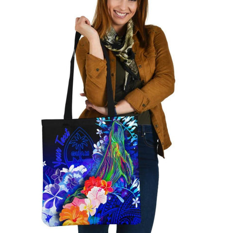 Guam Custom Personalised Tote Bags- Humpback Whale with Tropical Flowers (Blue)