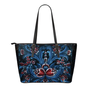 Norway bags- Rosemaling small leather tote bags NN9