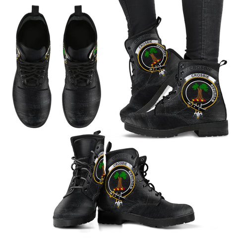 Crosbie (or Crosby) Crest Leather Boots (Women's/Men's) | Over 300 Clans