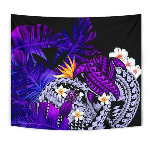 Image of Kanaka Maoli (Hawaiian) Tapestry, Polynesian Pineapple Banana Leaves Turtle Tattoo Purple