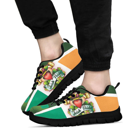 Irish Pride Sneakers - Ireland Flag With Claddagh Ring - BN21