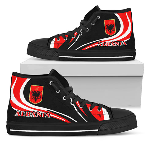 Albania Flag High Top Shoe Cannon Style black