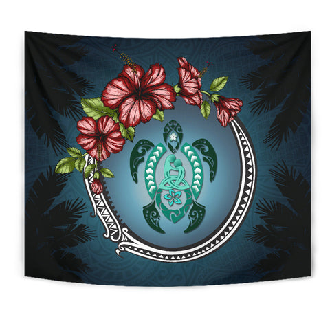Kanaka Maoli (Hawaiian) Tapestry - Polynesian Ohana Turtle Hibiscus Mother Son | Love The World